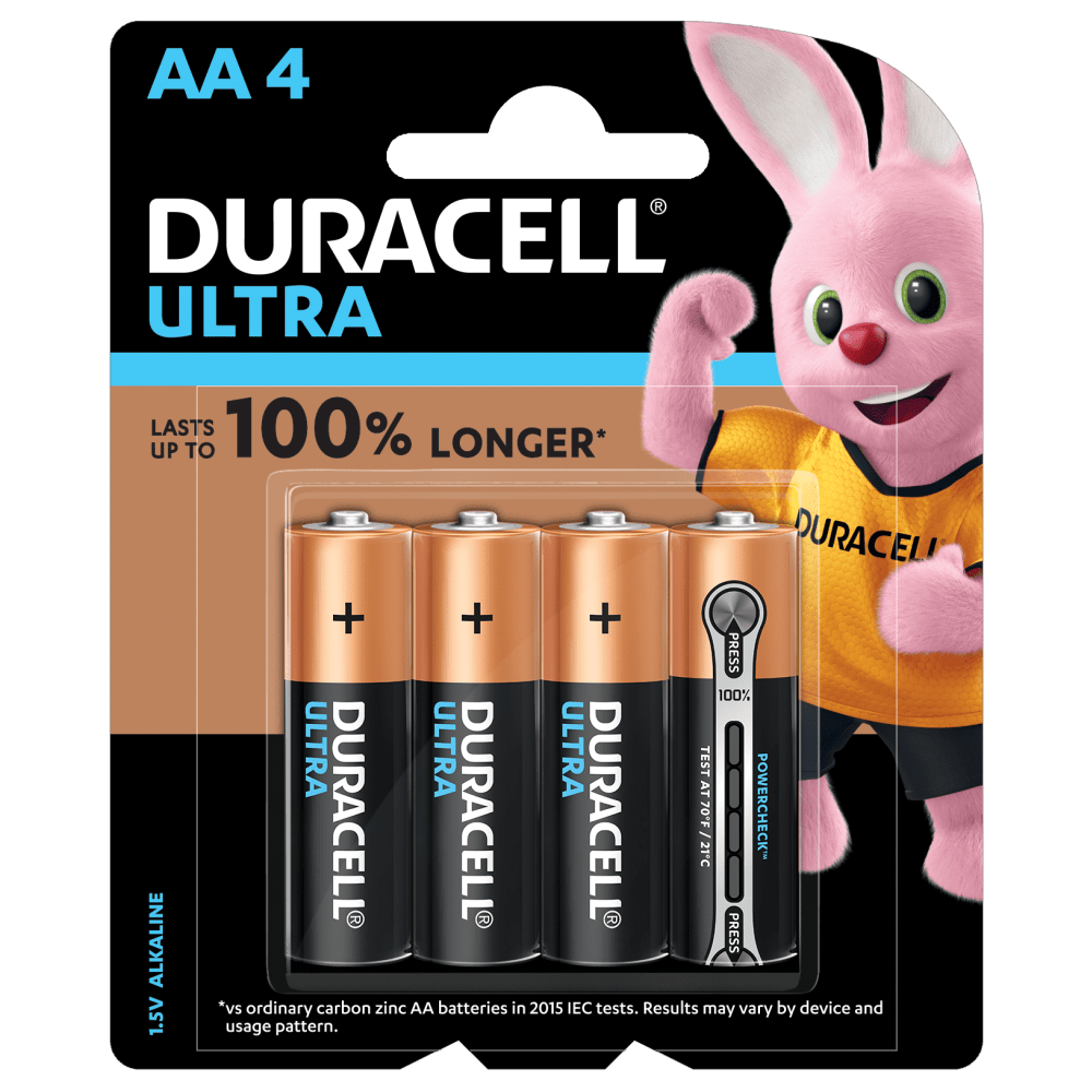 Duracell Ultra Alkaline AA 1.5V Batteries 4 piece pack
