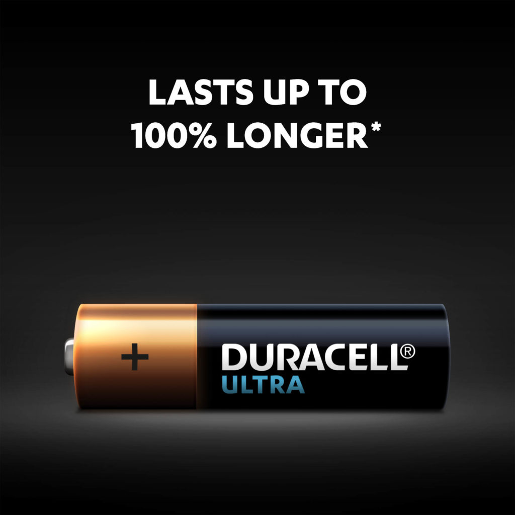 Alkaline Ultra AA batteries by Duracell with up to 100% more power