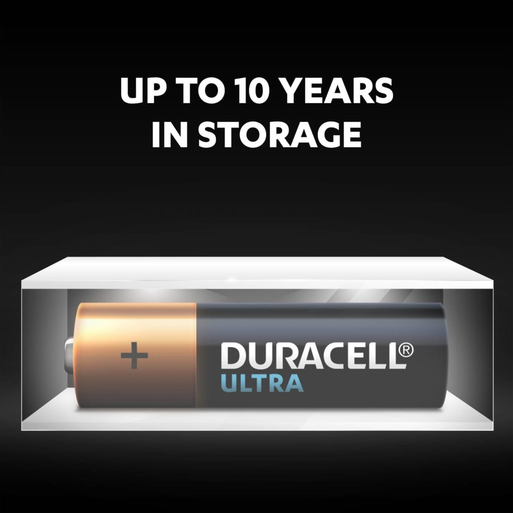 Unused Duracell batteries fresh and powered for up to 10 years in ambient storage