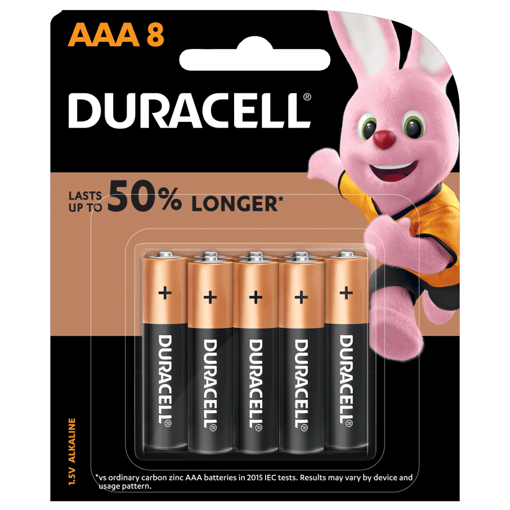 Duracell Plus Alkaline AAA 1.5V batteries 8-piece pack