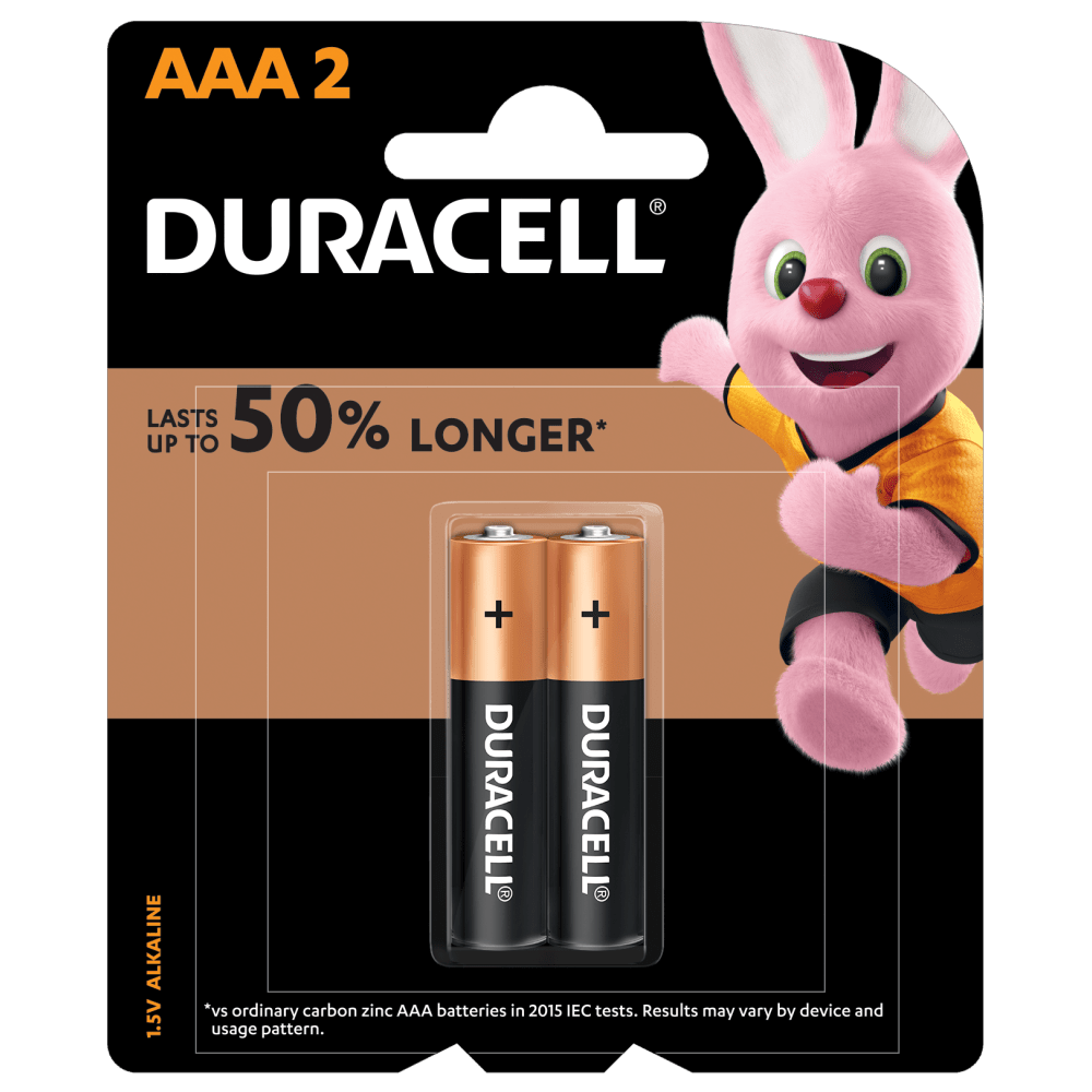Duracell Plus Alkaline AAA 1.5V batteries with 4 pieces in a pack