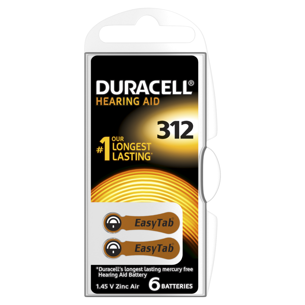 Duracell Hearing Aid Batteries Size 6 and code 312 and PR41