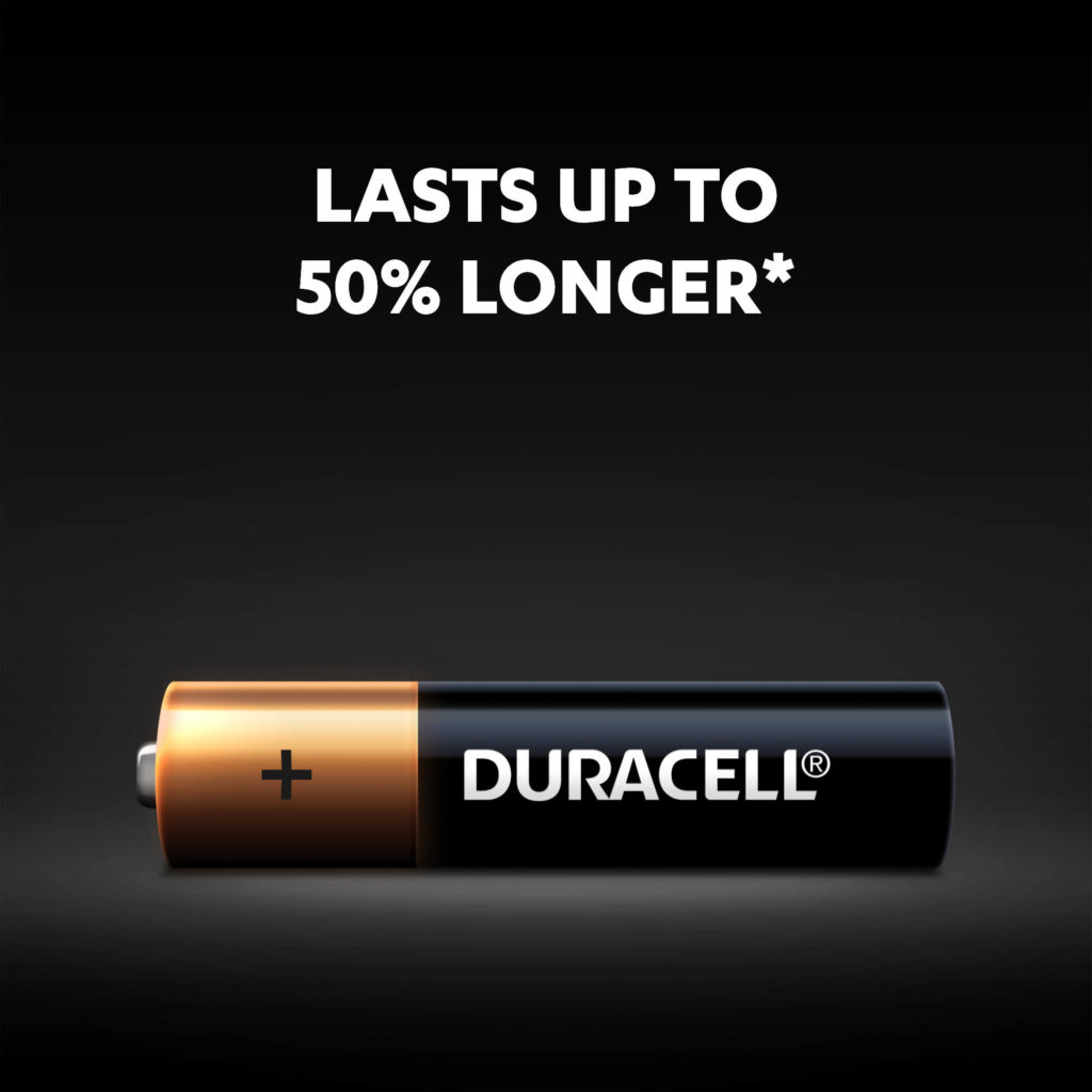 Duracell Plus AAA batteries have up to 50% more power illustration