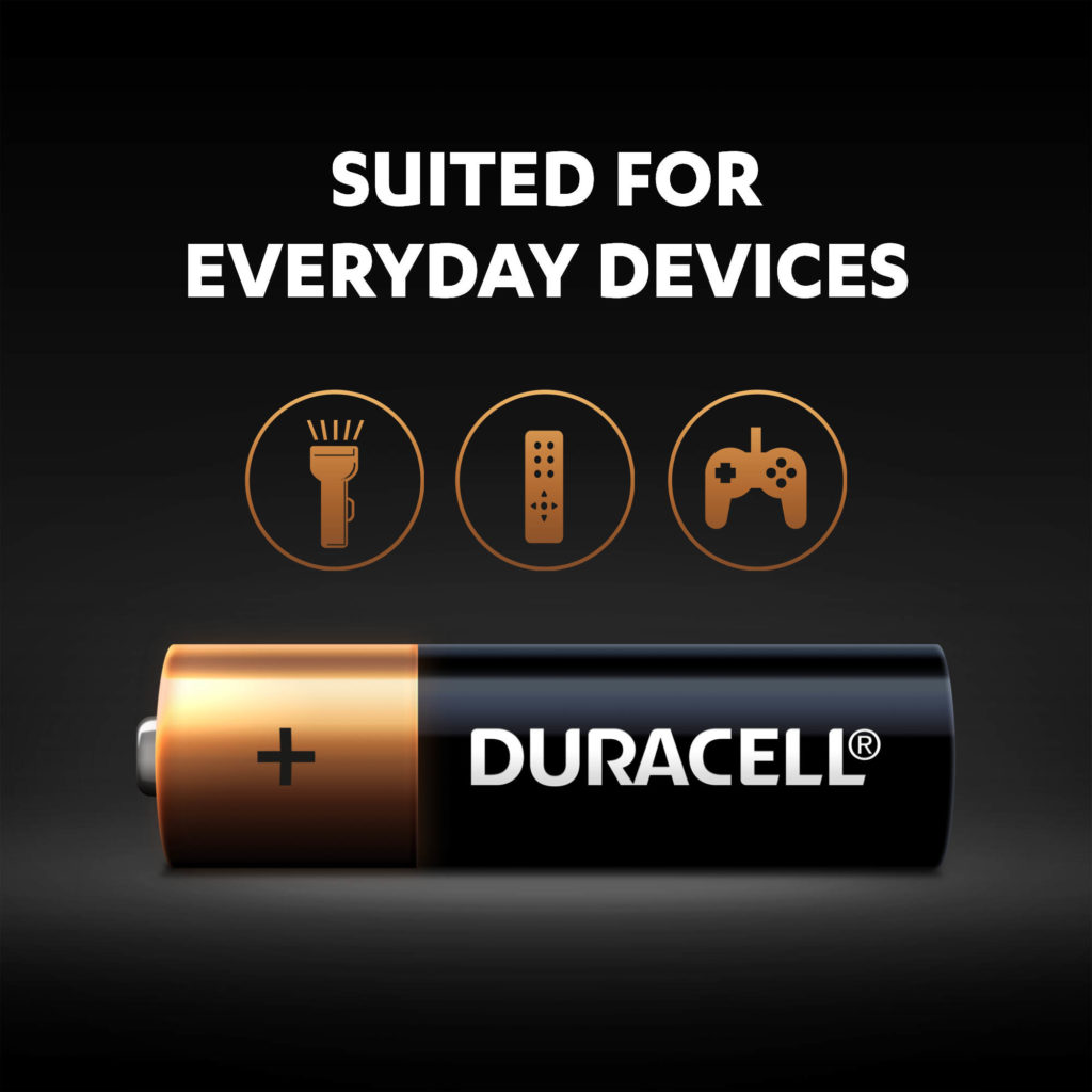 Duracell AA batteries are multi-purpose alkaline batteries