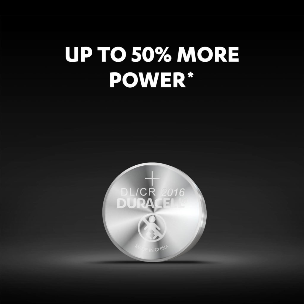 Up to 50% more power than average 2016 size lithium coins