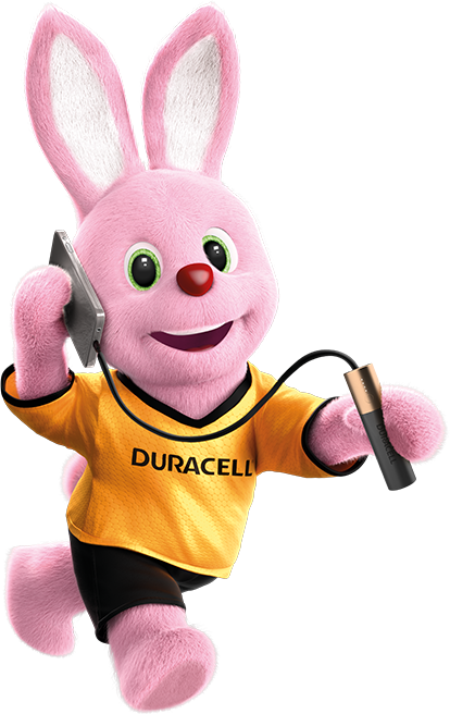 Bunny in action carrying mobile phone charged with Duracell 3350mAh power bank