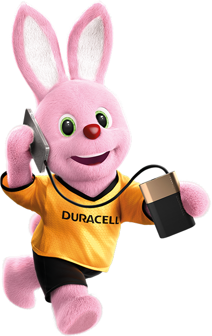 Bunny in action carrying mobile phone charged with Duracell Rechargeable 10050mAh power bank