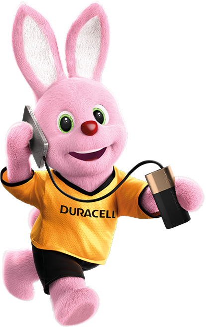 Bunny in action carrying mobile phone charged with Duracell Rechargeable 6700mAh power bank