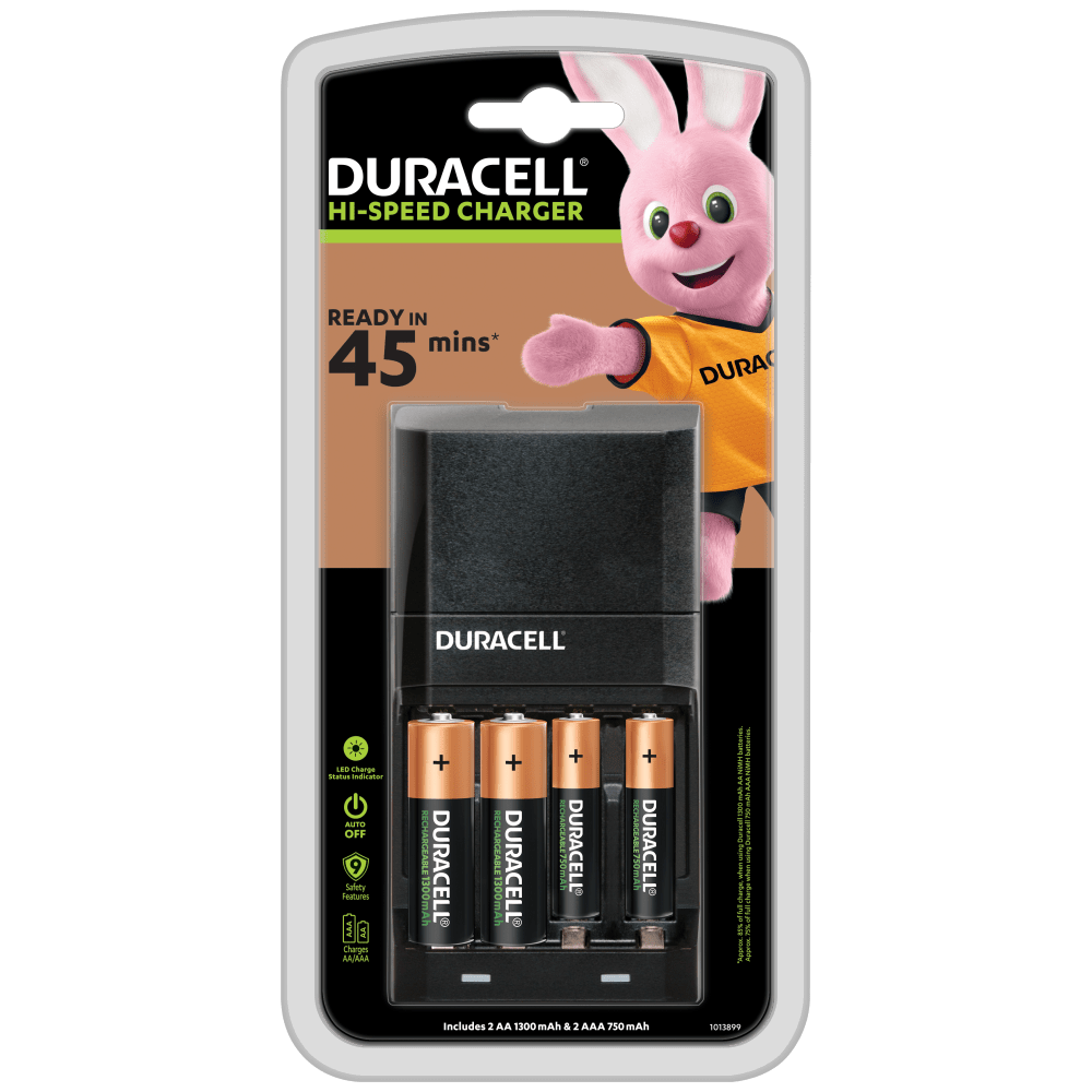 Duracell Hi-Speed Charger with two AA 1300 mAh and two AAA 750 mAh slots