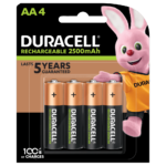 Duracell Rechargeable AA Batteries 2500mAh 4 piece pack