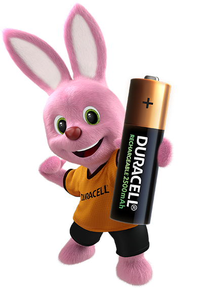 Bunny introducing Duracell Rechargeable battery