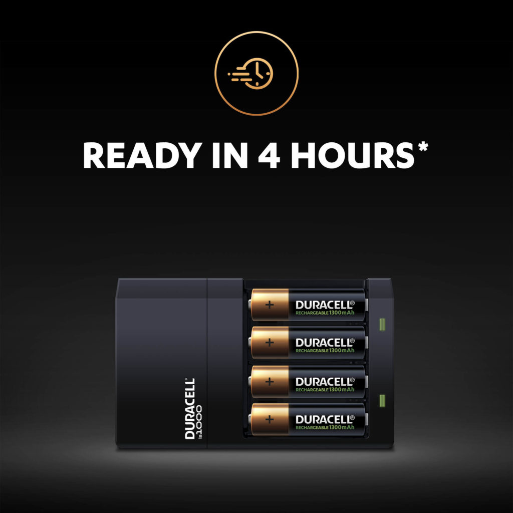Duracell Hi-Speed Charger charges 4 AA rechargeable batteries in 4 hours