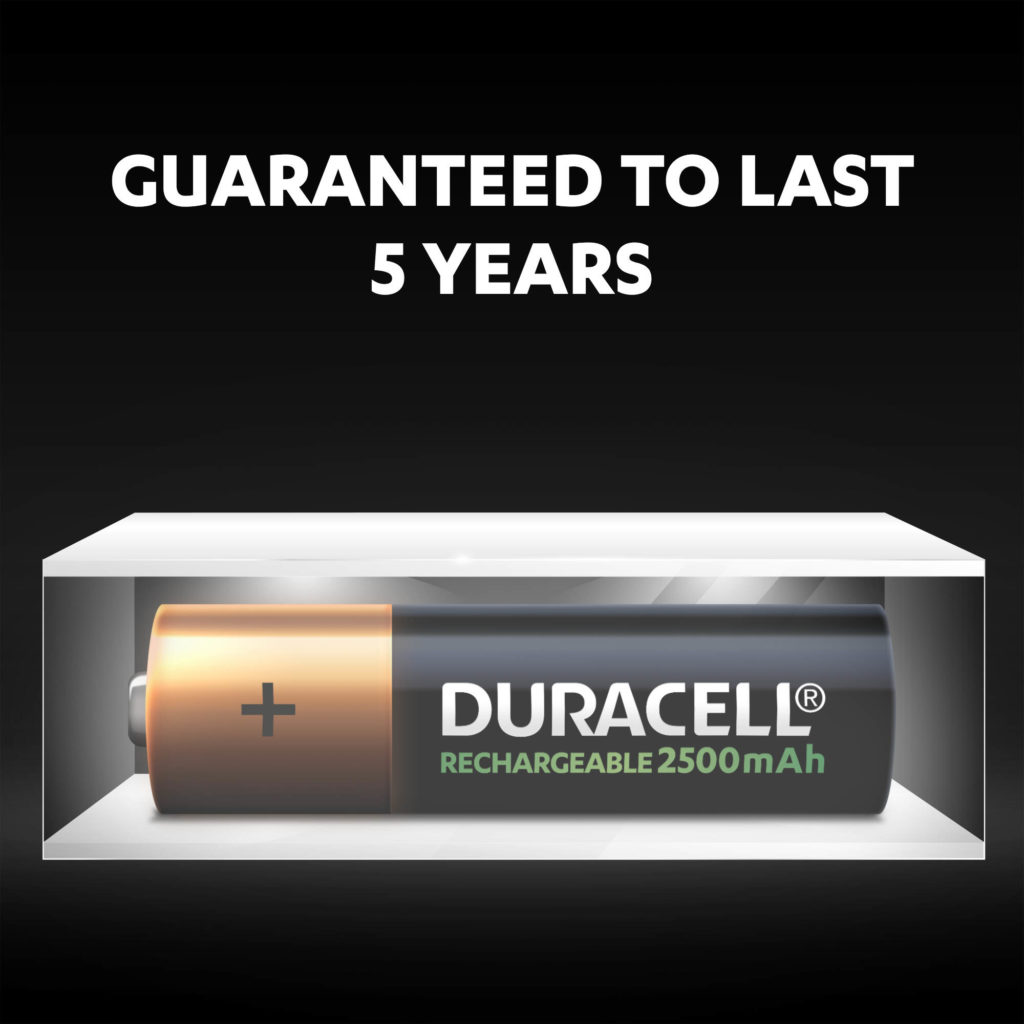 Unused Duracell Rechargeable AA 2500 mAh batteries fresh and powered for up to 5 years in ambient storage